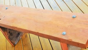 recycled timber bench from an old bridge
