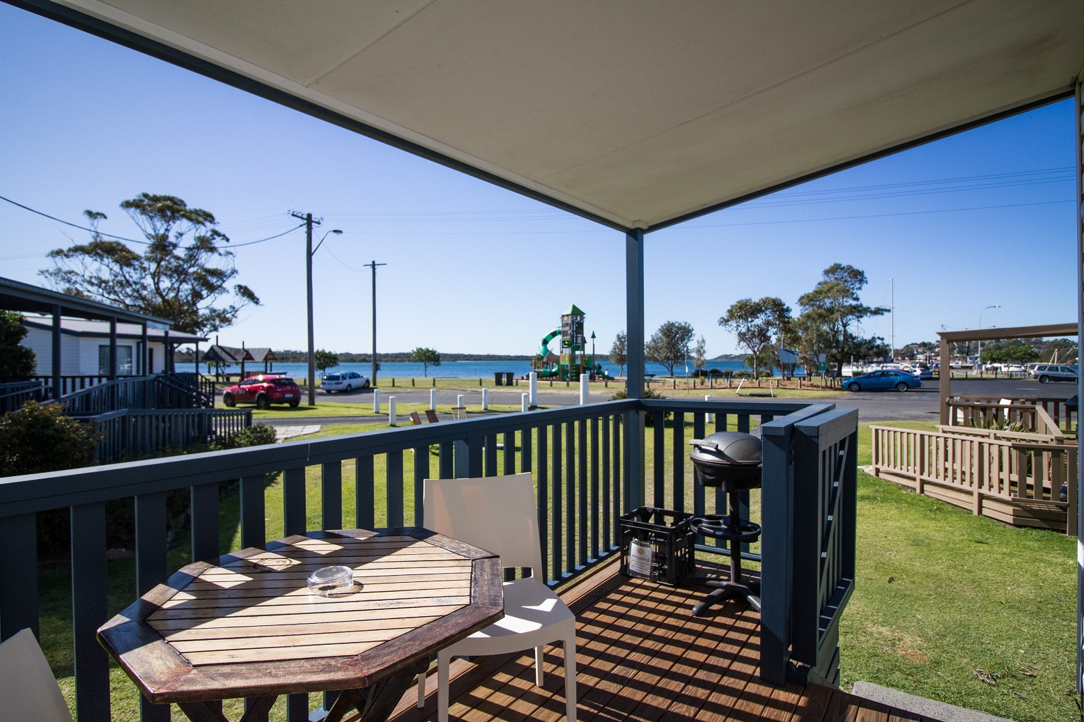 Your own BBQ and amazing water views from your one bedroom waterfront cabin