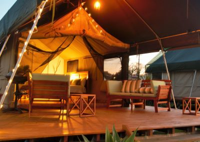 Evening on the deck of a Safari Tent